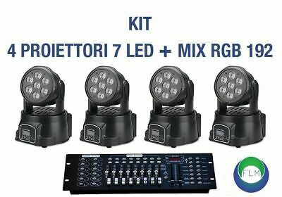 Kit 4 Proiettore Led Rgb Testa Mobile Rotan. 7 Led Wash Dmx + Mixer Rgb Dmx 192
