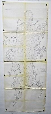 Vintage 1956 Canada Map Wollaston Lake Saskatchewan Fisheries as-is