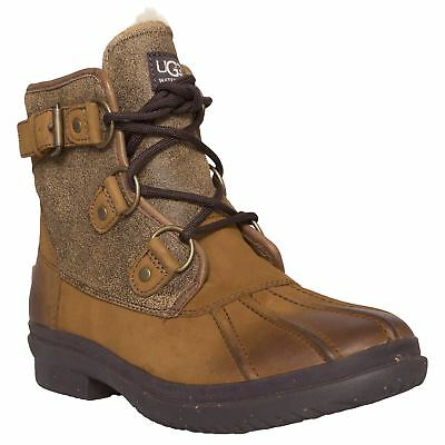 883495ca8ed UGG AUSTRALIA CECILE Chestnut Womens Leather Waterproof Ankle Boots