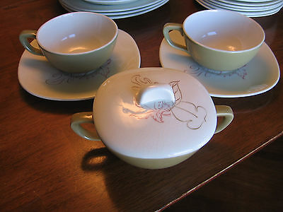 Taylor Smith Taylor Conversation Walter Teague Autumn Leaves Cup Sugar Bowl LOT