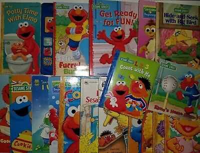 Lot of 18 SESAME STREET Shape Board Picture Books Beginnings Play-a-Sound Vintag