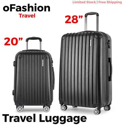 2pc Travel Luggage Suitcase Lock Hard Case Lightweight Carry On Trolley Black