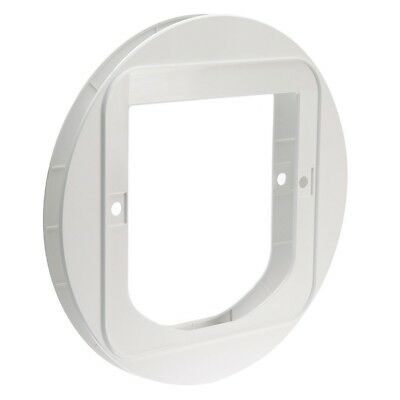 SureFlap Cat Flap Mounting Adaptor Covers Circular Holes in Glass Panes White