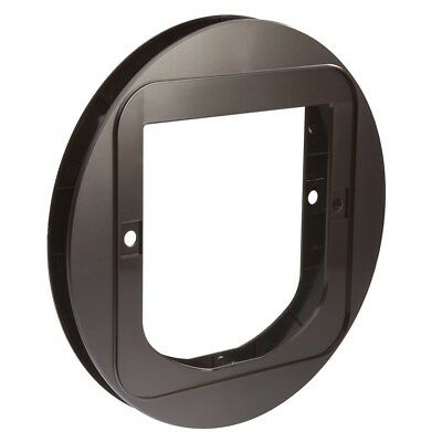 SureFlap Cat Flap Mounting Adapter Covers Circular Holes in Glass Panes Brown