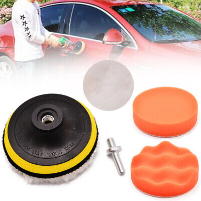 "5x/set 4"" Sponge Polishing Buffing Pad Drill Adapter Kit Suit For Car Polisher"
