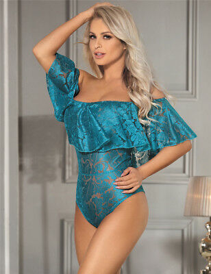 Emerald Green Lace Off-the-shoulder Teddy lingerie