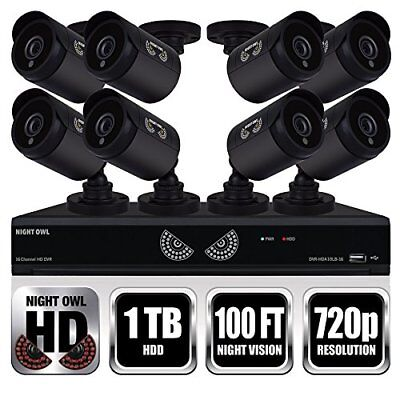 NEW Night Owl 16 Channel 1080 DVR HD Video Security System 1 TB HDD+8 HD Cameras