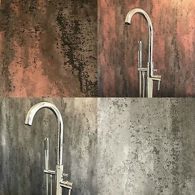 BRUSHED SILVER GREY Or Copper Red Bathroom Wall Panels PVC Cladding ...