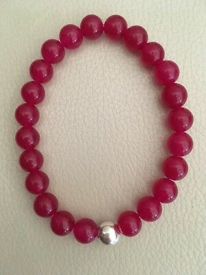 "7.5"" Red Agate Sterling Silver Stretch Stacking Bracelet Mix & Match"