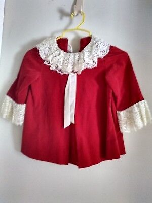 Vintage Girls Child's Red Green Velvet Party Dress With Lace Trim
