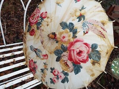 Vintage Oriental Hand Painted Fabric Chinese Sun ShadeParasol Floral Exotic Bird