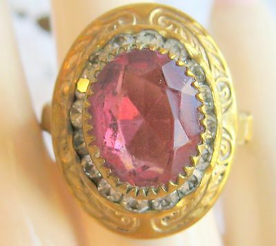 Fancy Early 1900's Art Deco Pink Oval Glass & Clear Rhinestone Brass Ring Sz 6.5