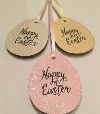 14cm Easter Felt Hanging Decoration Running Hare Green Collar Spring Decoration