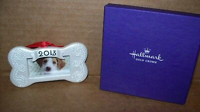 Hallmark 2013 DOG BONE PICTURE FRAME HANGING ORNAMENT NEW IN HALLMARK BOX