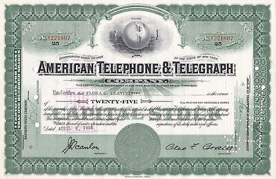 1956 AT&T American Telephone & Telegraph Company Stock Certificate Vintage 1950s