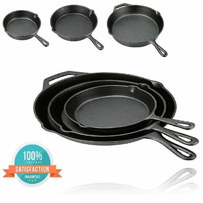 3 PCS Flat and Smooth Cast Iron Skillet Set Plant Oil Cooking Pan Set Durable