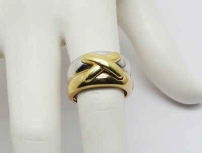 GORGEOUS WOMEN 18K TRICOLOR SOLID GOLD X KISS DOUBLE BAND RING 10.0 grams