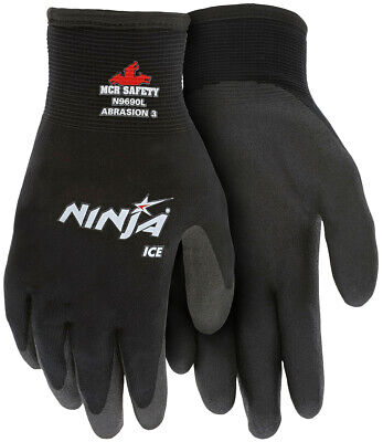 Memphis Ninja Ice Foam Coated Nylon Work Gloves, Black