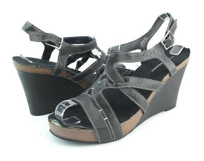 3c6fd34cbbf8 Audrey Brooke Grenada Womens Black Leather Platform Wedge Heels Sandals  Size 8 M