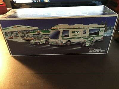 1998 Hess Gasoline Toy Truck Recreation Van With Dune Buggy & Motorcycle In Box