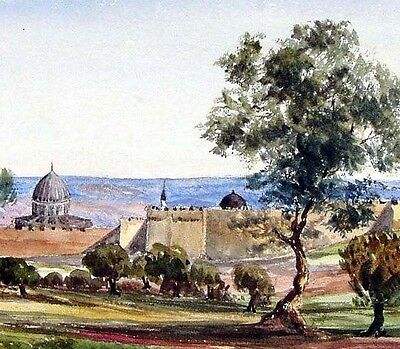 Charles Gilbert Heathcote - Jerusalem Israel Middle East 1864 Orig Watercolour