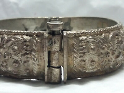 antique greek 19th ottoman era silver repousse bracelet