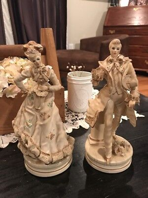 "Antique VINTAGE 9"" Ceramic Porcelain LACE FRENCH COUPLE Figurines Statues"