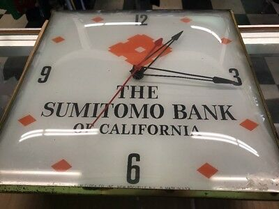 Vintage The Sumitomo Bank Of California Pam Clock Co Clock