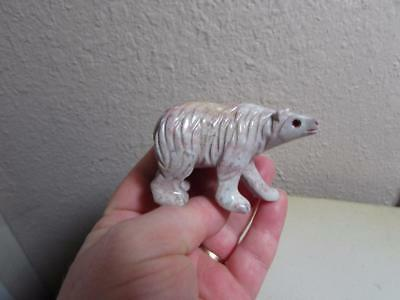 Polar Bear, Hand carved Marble from Andes, Multi Colored stone Bear Unique!