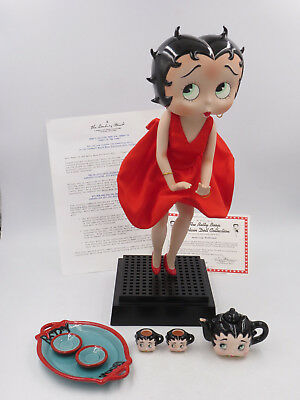 "Betty Boop Red Dress Blowing Porcelain Collector Doll 14"" Posable Figure"