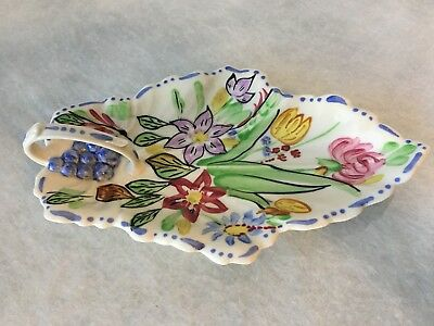 Blue Ridge Southern Potteries Oval Celery Leaf Tray Handle Summertime
