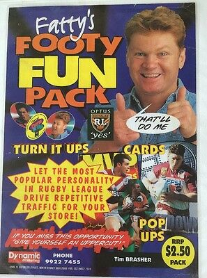 Rare & Complete Set Of 1997 Fatty Footy Fun Pack Turn-It-Up Tazo's & Cards