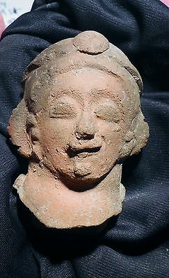 Pre Columbian Equador Head Fragment Pottery Jamacoaque Authentic