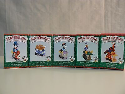 Hallmark 1998 Merry Miniatures MICKEY EXPRESS Holiday Train 5 pc Friends Set NIB