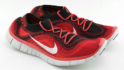 huge selection of 38b44 3129d MENS NIKE FREE Flyknit 5.0 Running Shoes Size 12 Us Red Black White 615805  016