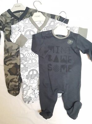 NEW ⭐BNWT NEXT Baby Boy 0-1 0-3-6-9-12 Cotton  Slogan Sleepsuits/Babygrows