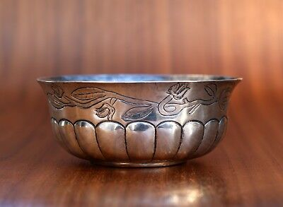 "Antique Sterling Silver 900 Mexican J. Vigueras Hand Chased 4""D Bowl 106 Grams"