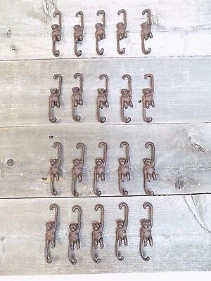 20 Small Cast Iron Monkey Plant Hooks Garden  Craft Knick Hanger Home Decor