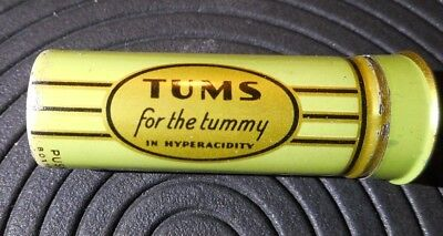 Vintage Antique Metal TUMS Dispenser Tin Tube Made for Tummy in HyperAcidity USA