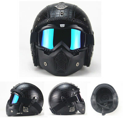 Open Face Motorcycle Helmet for Harley Davidson Scooter Leather Shell w/Goggles