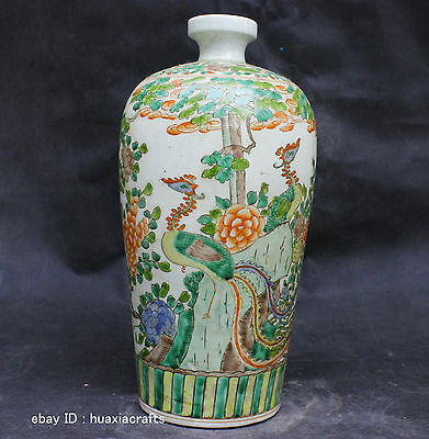 Chinese Private Famille Rose porcelain Pottery Handmade Phoenix Bird Vase Bottle