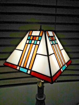 "Lovely Mission stained glass Lamp Shade SQUARE 5 1/2"" X 7""  Earth tones small sz"