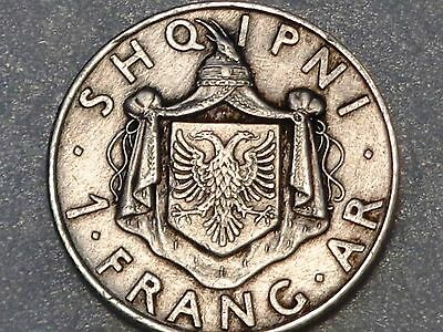 Albania 1937 R silver 1 Frang Franc King Zog I Rome mint nice grade uncleaned