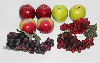 Decorative Faux Fruit 9 Pieces 3 Grapes 6 Apples 2 each Green Red and Fuji GUC