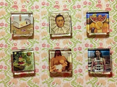 FRIDA KAHLO 1 Inch Glass Magnets - Lot of 6 Hand-Crafted