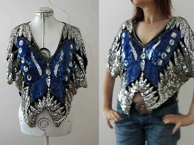 Vintage 70s 80s Butterfly Sequined Cape Top Boho S-MBuy 3+ Items for FREE Post
