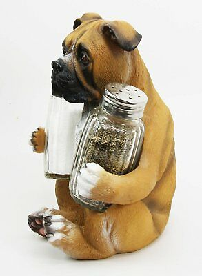 Adorable Hugging Fawn Boxer Dog Decorative Glass Salt Pepper Shakers Holder Resi