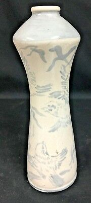Studio Pottery Vase- Hand Painted Birds Signed Avalon