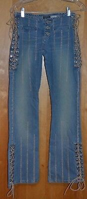 Women's Rare Vintage Parasuco Boho Hippie Jeans Leather Ties Silver Loops Sz 25