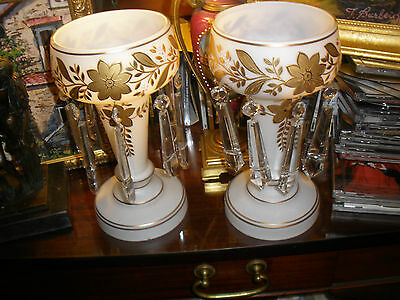 Moser Victorian White/Gold Mantle Lustres: Magnificent cased glass and crystals